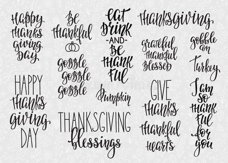 Uppsättning för tacksägelsebokstävertypografi