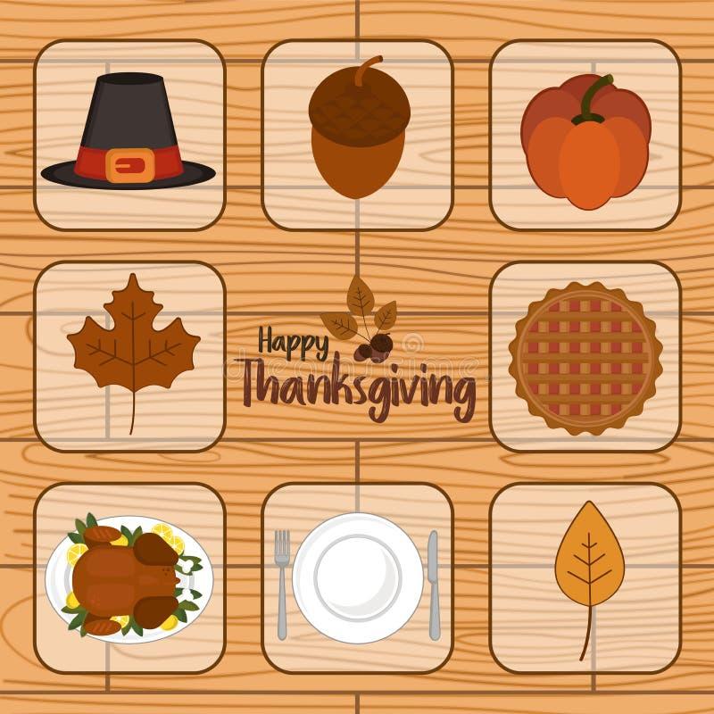 Uppsättning för tacksägelsedagsymbol arkivbilder