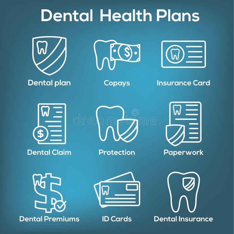 Uppsättning för tandvårdsförsäkringöversiktssymbol med tandbild
