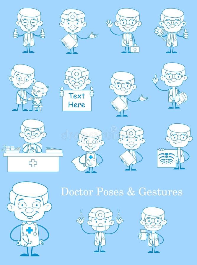 Uppsättning för tappningdoktor Medical Concepts Vector royaltyfri illustrationer