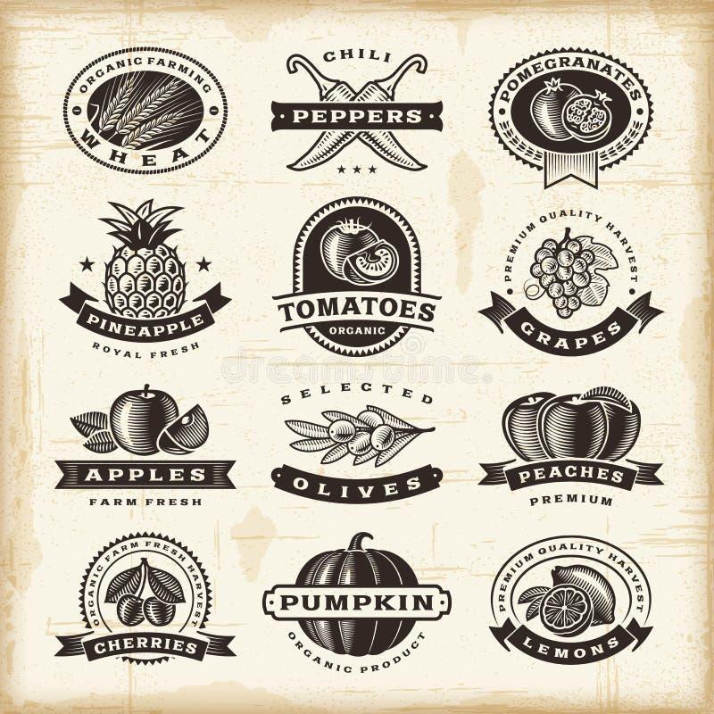 Uppsättning för tappningfrukt- och grönsaketiketter royaltyfri illustrationer
