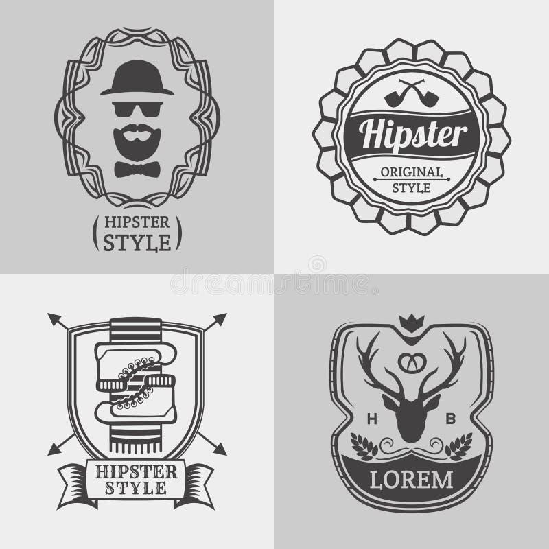 Uppsättning för för tappninghipsteretiketter och logoer retro stil royaltyfri illustrationer