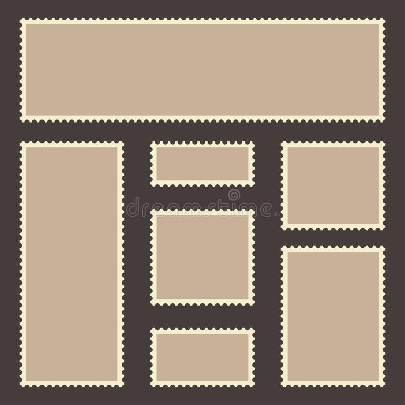 Uppsättning för tappningportostämpel Tomma portostämplar med retro ramar och kanter som isoleras på mörk bakgrund royaltyfri illustrationer