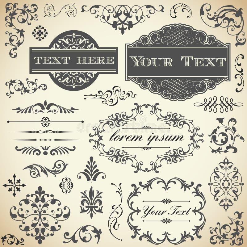 Uppsättning för tappningprydnadCalligraphy royaltyfri illustrationer
