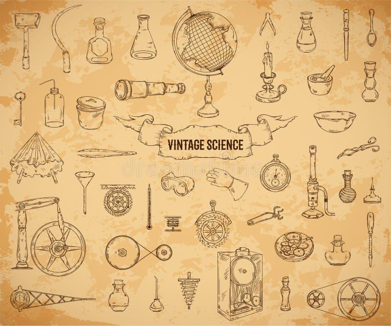 Uppsättning för tappningvetenskapsobjekt i steampunkstil Vetenskaplig utrustning för fysik, kemi, geografi, apotek på åldrig papp vektor illustrationer