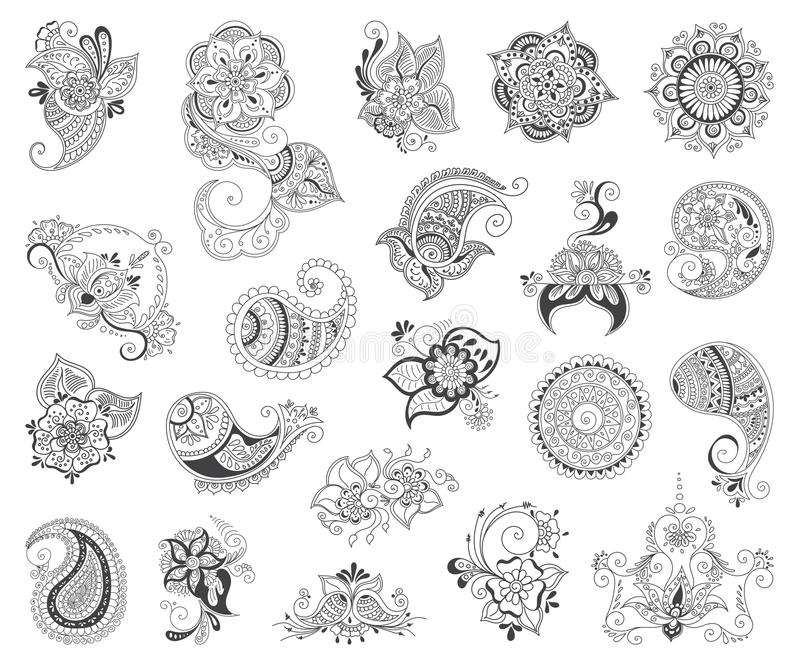 Uppsättning för tatueringhennabeståndsdel royaltyfri illustrationer
