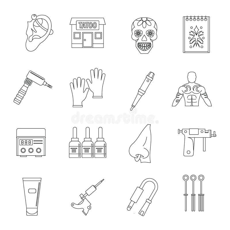 Uppsättning för tatueringmottagningsrumsymboler, översiktsstil vektor illustrationer