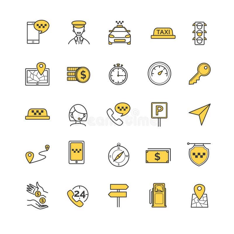 Uppsättning för taxivektorsymboler stock illustrationer