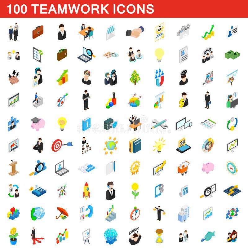uppsättning för 100 teamworksymboler, isometrisk stil 3d royaltyfri illustrationer