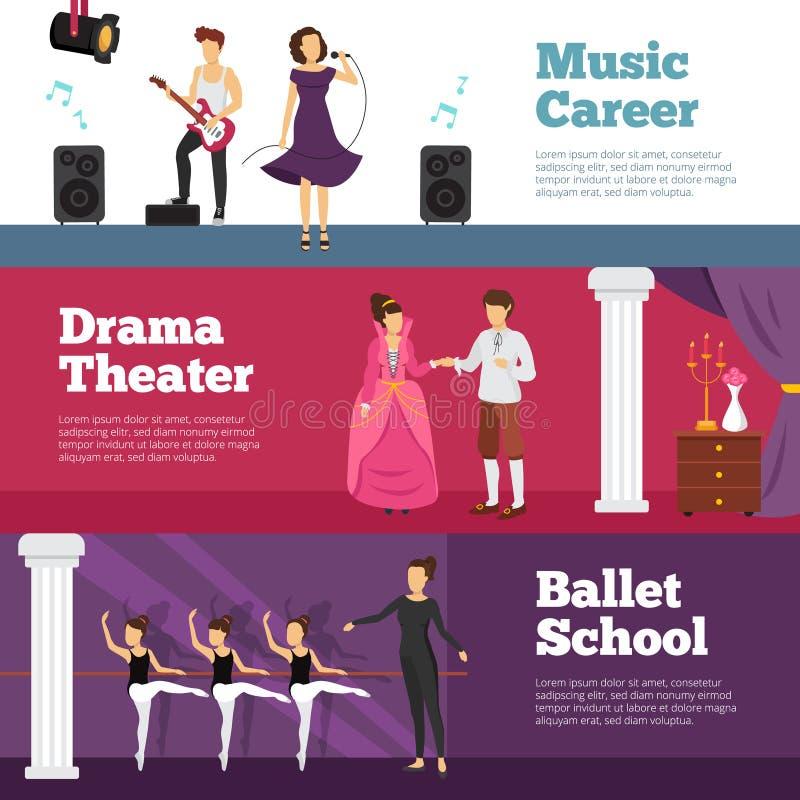 Uppsättning för teaterfolkbaner vektor illustrationer