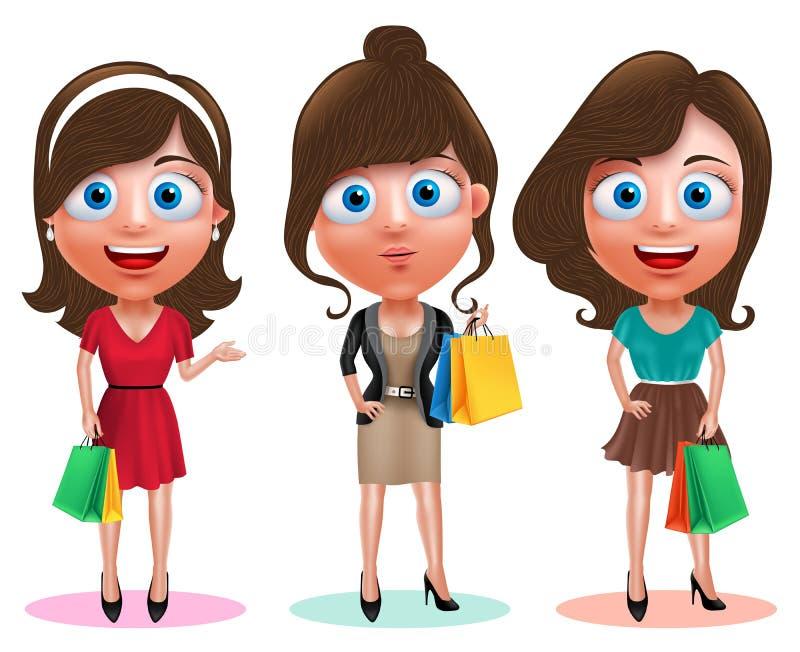 Uppsättning för tecken för kvinnashoppingvektor Kvinnliga lyckliga hållande shoppingpåsar stock illustrationer