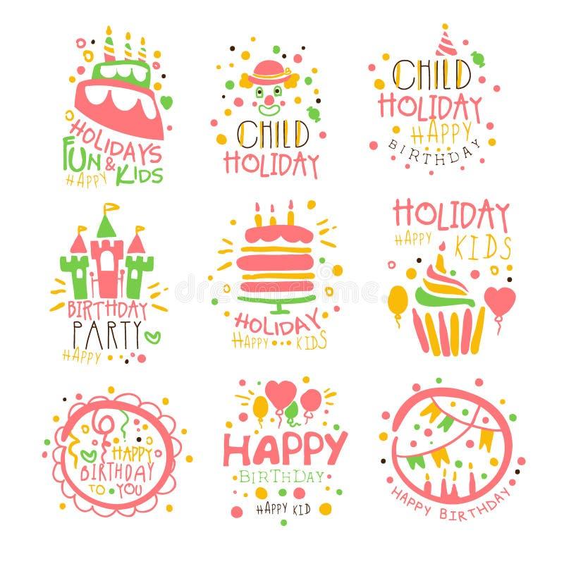Uppsättning för tecken för Promo för underhållning för ungefödelsedagparti av färgrika vektordesignmallar med festliga symboler stock illustrationer