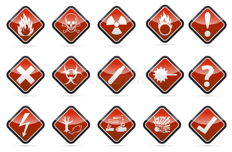 Uppsättning för tecken för varning för runt hörn för fara vektor illustrationer