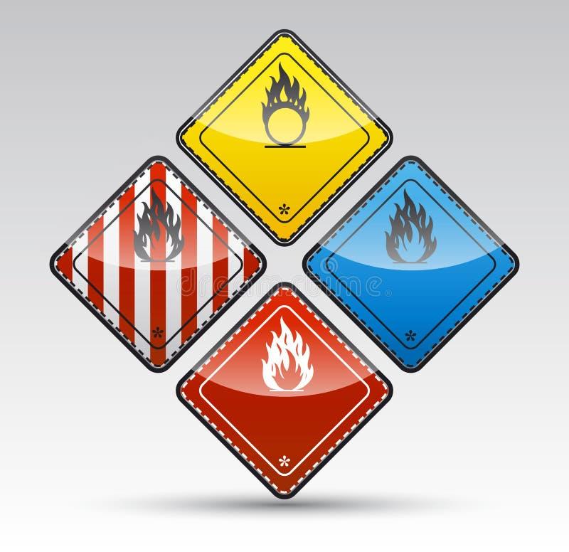 Uppsättning för tecken för varning för runt hörn för fara stock illustrationer