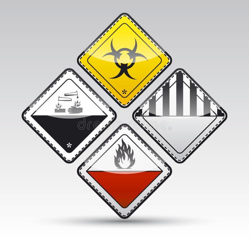 Uppsättning för tecken för varning för runt hörn för fara royaltyfri illustrationer