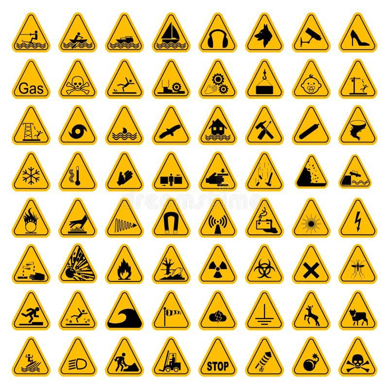 Uppsättning för tecken för varningsfaratriangel också vektor för coreldrawillustration Gula symboler som isoleras på vit royaltyfri illustrationer