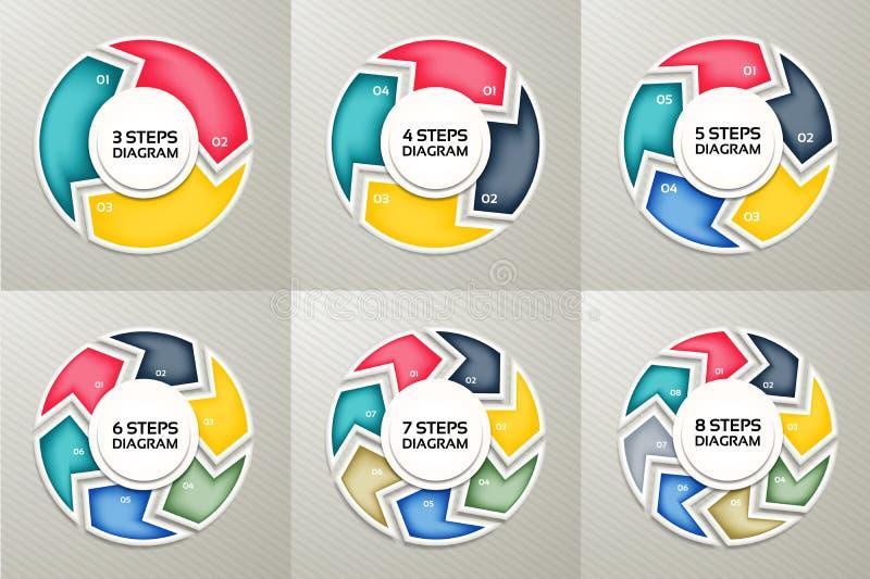 Uppsättning för tecken för vektorcirkelpilar infographic Cirkuleringsdiagram, symbolgraf, pussel stock illustrationer