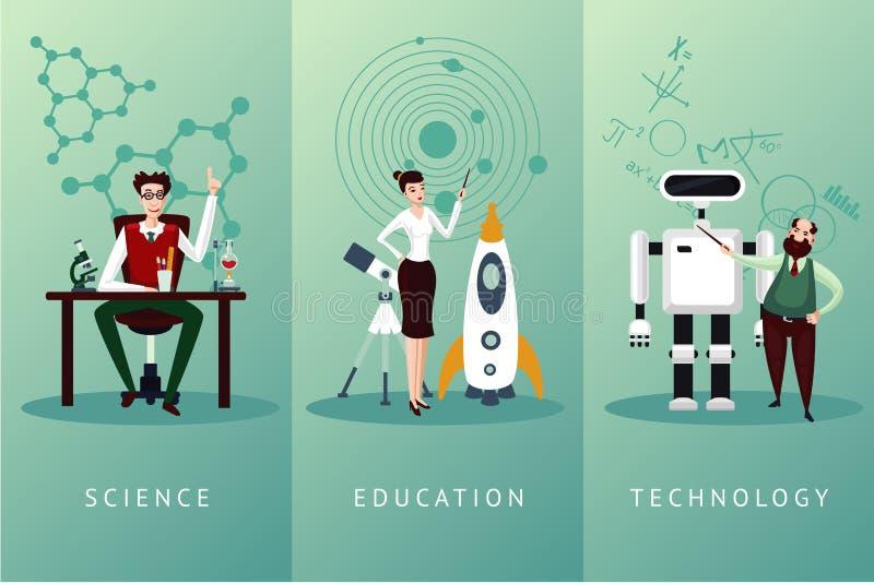 Uppsättning för tecken för forskarevektortecknad film Vetenskaps- och utbildningsbegrepp Teknologibakgrundssamling stock illustrationer