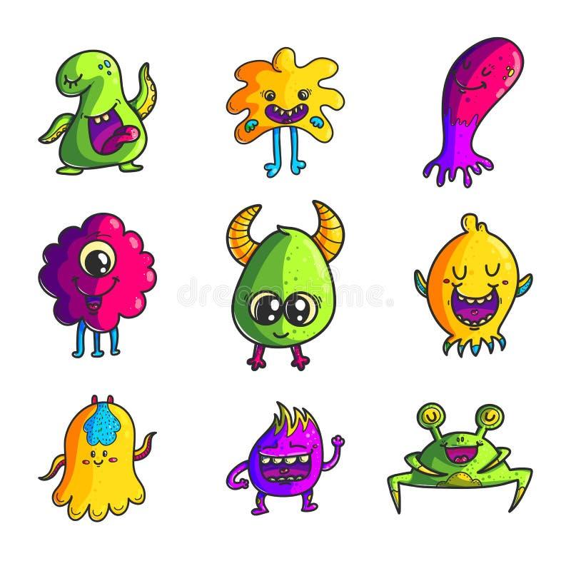 Uppsättning för tecken för gullig monsterfärghand utdragen royaltyfri illustrationer