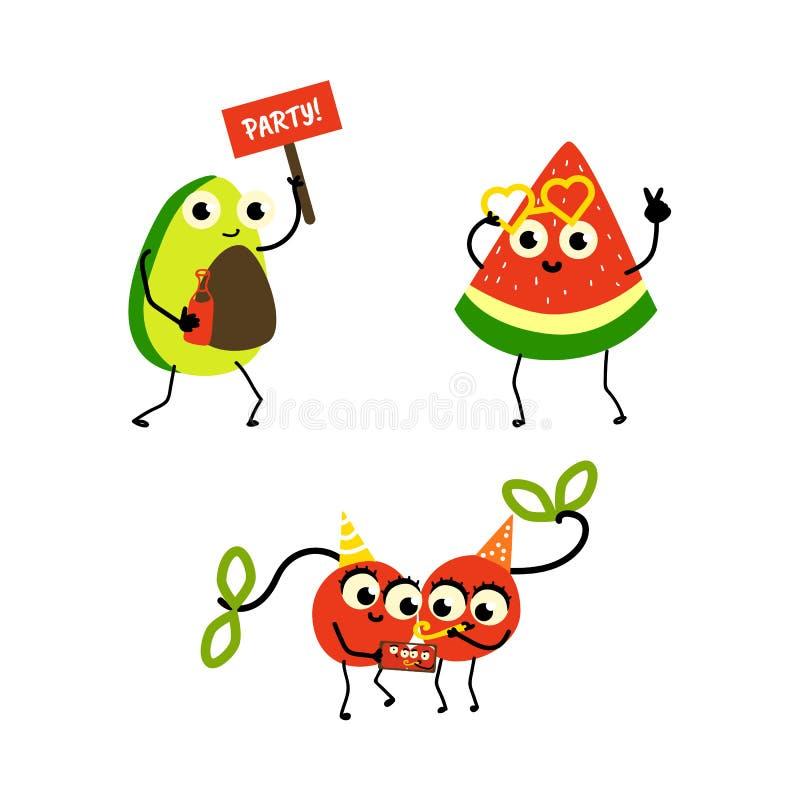 Uppsättning för tecken för parti för sommar för vektorlägenhetfrukt stock illustrationer