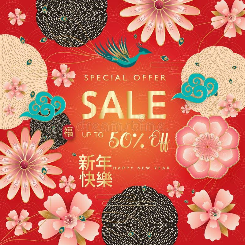 Uppsättning för tecken för sakuras för blomning för traditionell vår för mån- år för nytt år för Sale baner 2019 lycklig kinesisk royaltyfri illustrationer