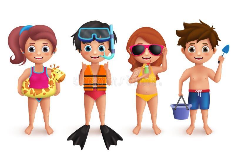 Uppsättning för tecken för sommarungevektor Pojkar och flickor som spelar i stranden som gör utomhus- aktiviteter royaltyfri illustrationer