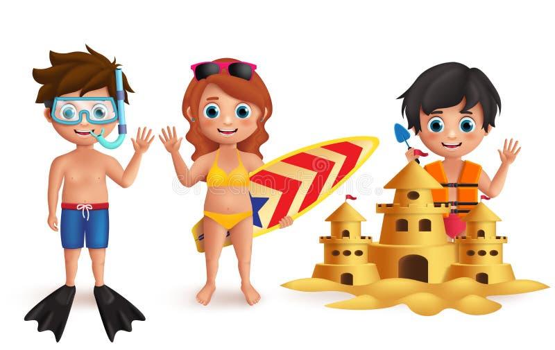Uppsättning för tecken för strandungevektor Unga pojkar och flicka som spelar sandslotten och gör strandaktiviteter royaltyfri illustrationer
