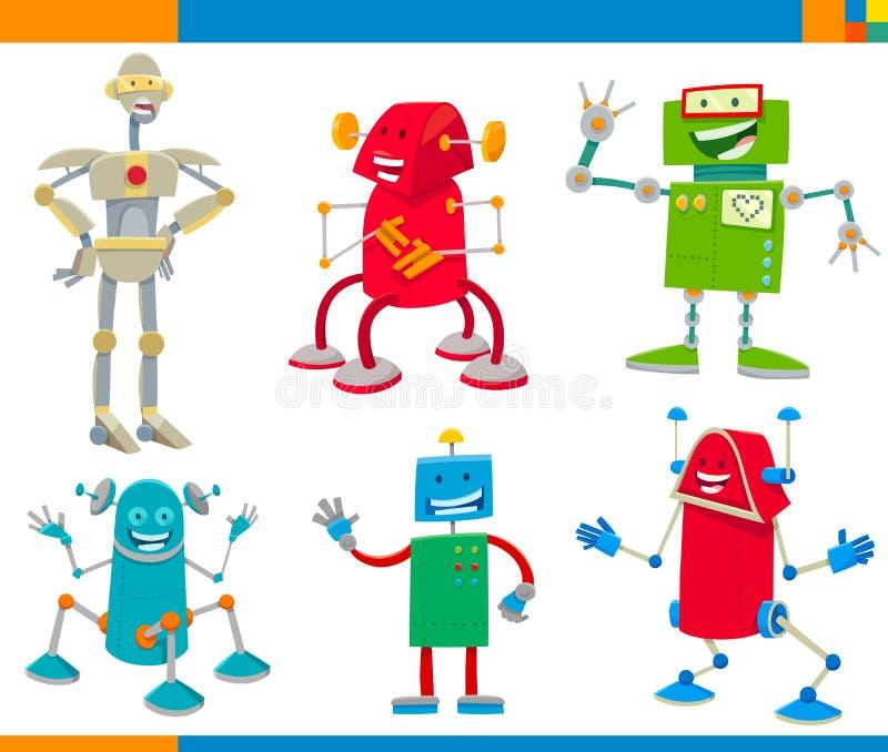 Uppsättning för tecken för tecknad filmrobotar rolig vektor illustrationer