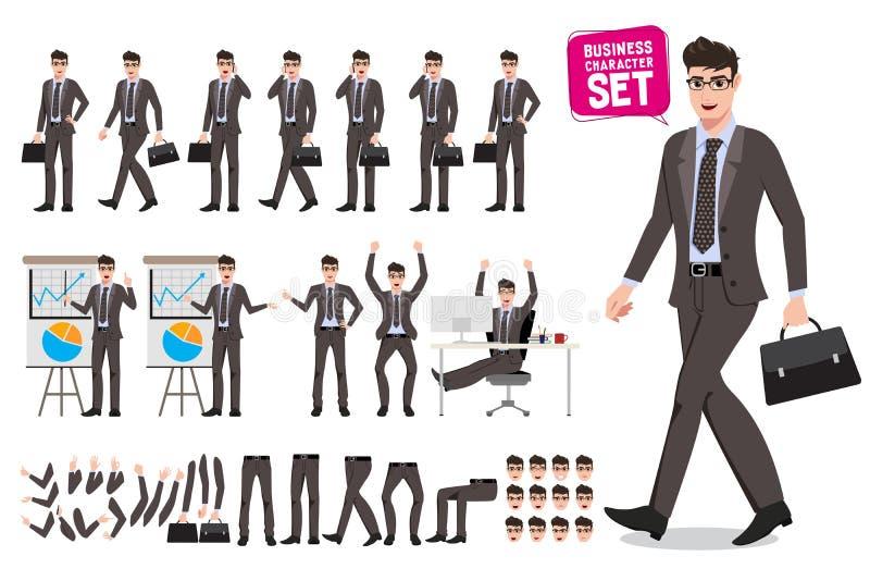 Uppsättning för tecken för vektor för affärsman Skapelse för tecknad filmtecken av den manliga kontorspersonen vektor illustrationer