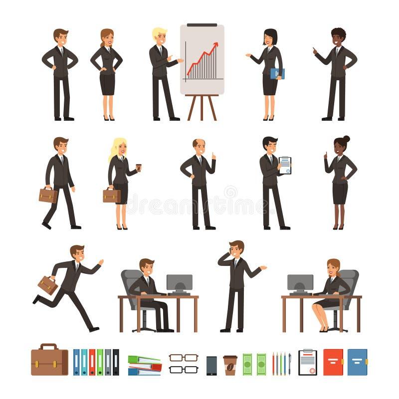 Uppsättning för teckendesign av mannen för affärsfolk och kvinna, kontorsarbetare eller direktörer, yrkesmässiga lag Maskot in royaltyfri illustrationer