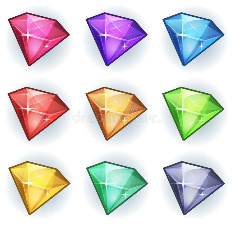 Uppsättning för tecknad filmädelsten- och diamantsymboler stock illustrationer