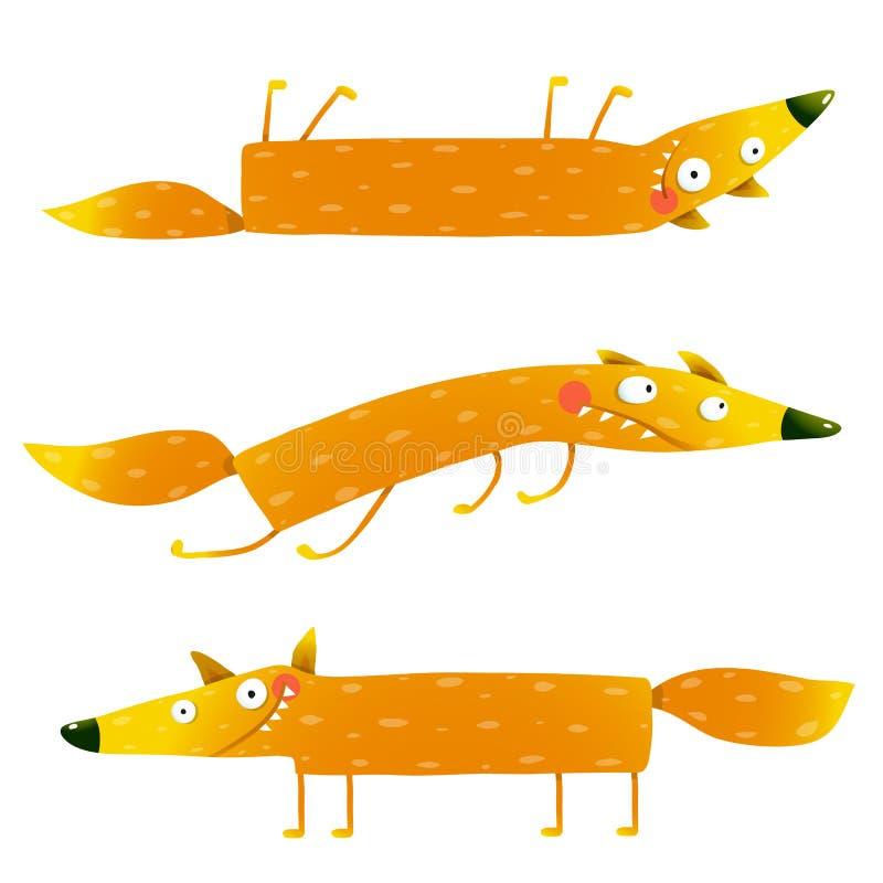 Uppsättning för tecknad film för djurt tecken för räv rolig för ungar vektor illustrationer