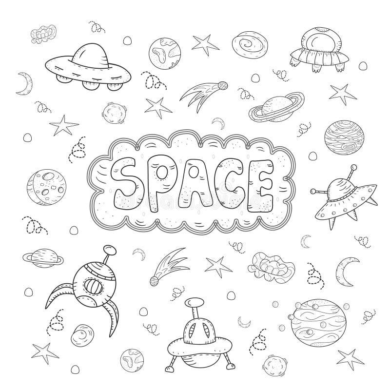 Uppsättning för tecknad film för klotter för konturvektor hand dragen av utrymmeobjekt och symboler stock illustrationer