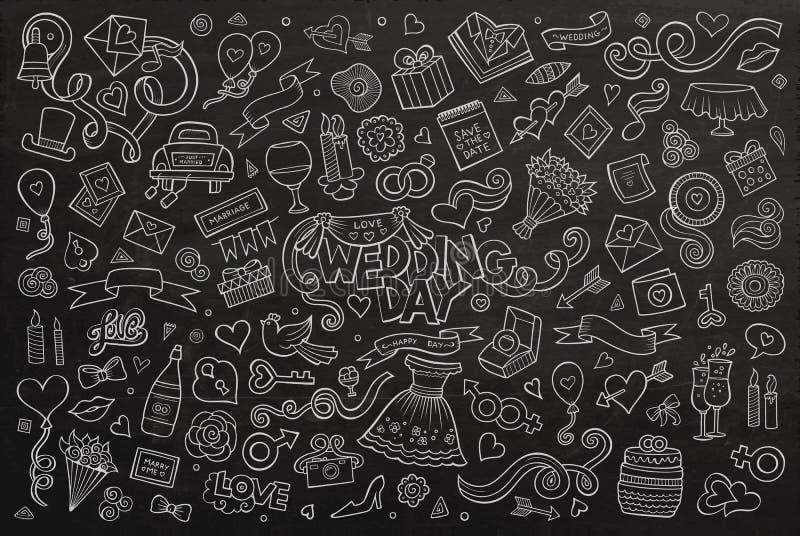 Uppsättning för tecknad film för klotter för svart tavlavektor hand dragen av stock illustrationer