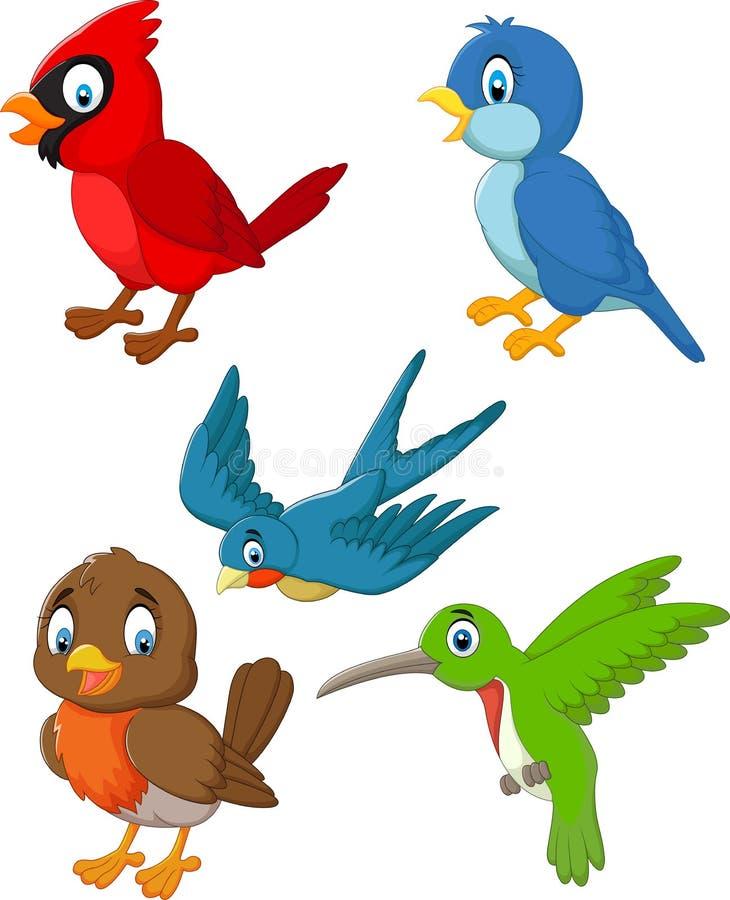 Uppsättning för tecknad filmfågelsamling stock illustrationer