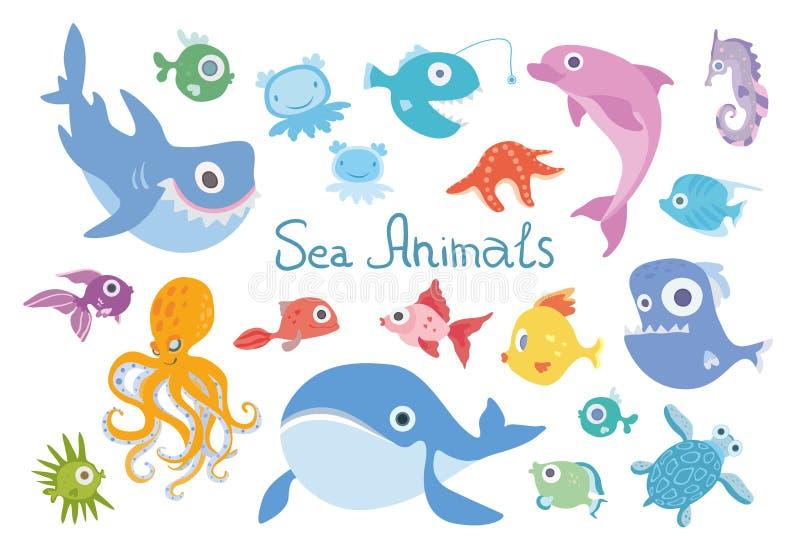 Uppsättning för tecknad filmhavsdjur Val, haj, delfin, bläckfisk och andra marin- fisk och djur Vektorillustration som isoleras stock illustrationer