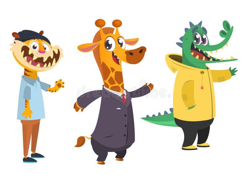 Uppsättning för tecknad filmhipsterdjur Djur i kläder tillfällig stil den främmande tecknad filmkatten flyr illustrationtakvektor stock illustrationer