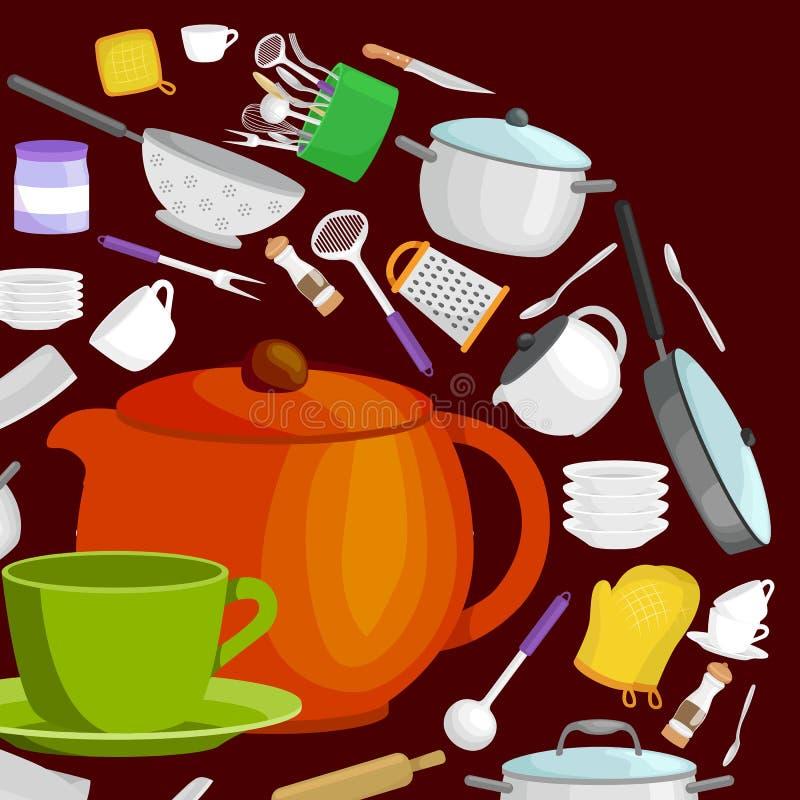Uppsättning för tecknad filmkökredskap, samling av orange teepot och grön kopp med tefatvektorillustrationen stock illustrationer
