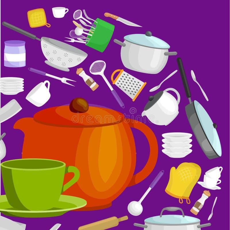 Uppsättning för tecknad filmkökredskap, samling av orange teepot och grön kopp med tefatvektorillustrationen royaltyfri illustrationer
