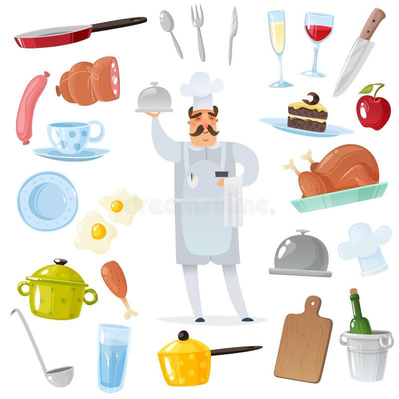 Uppsättning för tecknad filmkocktillbehör kock som omges av kök- och restaurangtillbehör för att laga mat isolerade objekt i läge vektor illustrationer