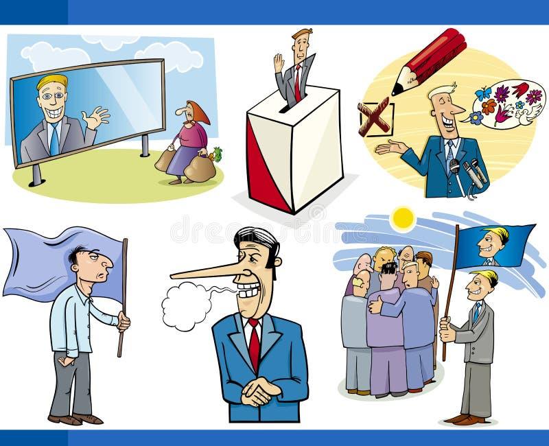 Uppsättning för tecknad filmpolitikbegrepp vektor illustrationer