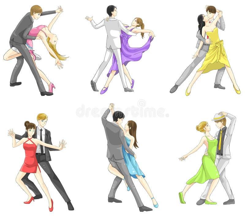 Uppsättning för tecknad filmtecken av danspar i danssport vektor illustrationer