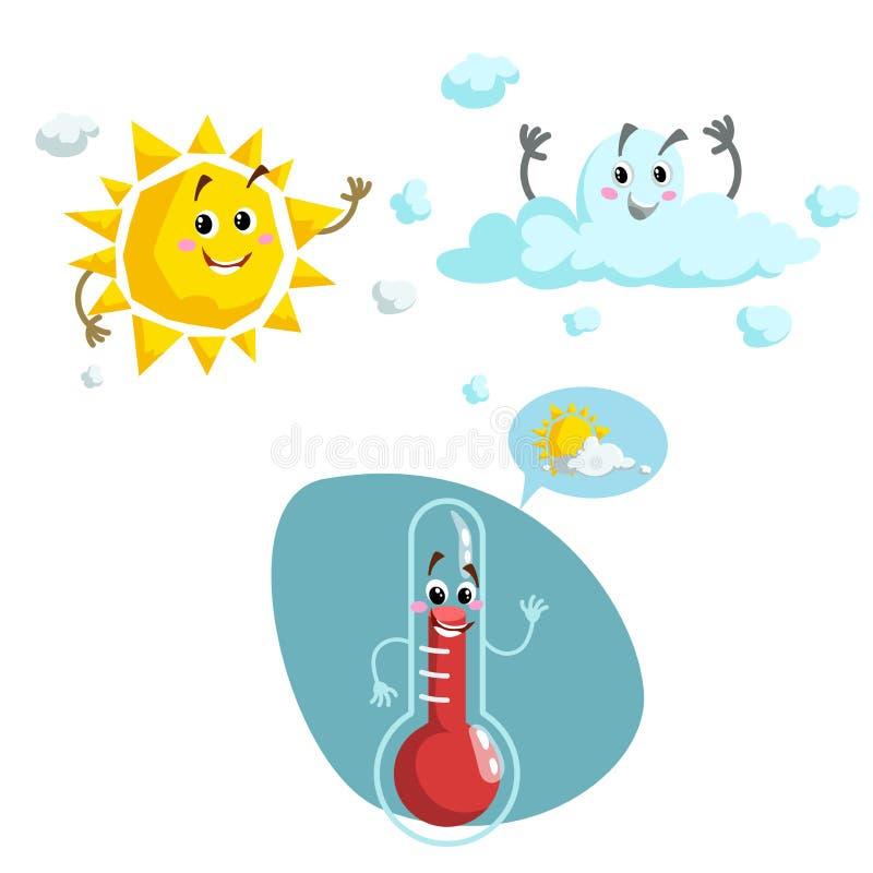 Uppsättning för tecknad filmvädertecken Vänlig sol, moln och le termometermaskot Anförandebubbla med solen och moln Vektorillu vektor illustrationer