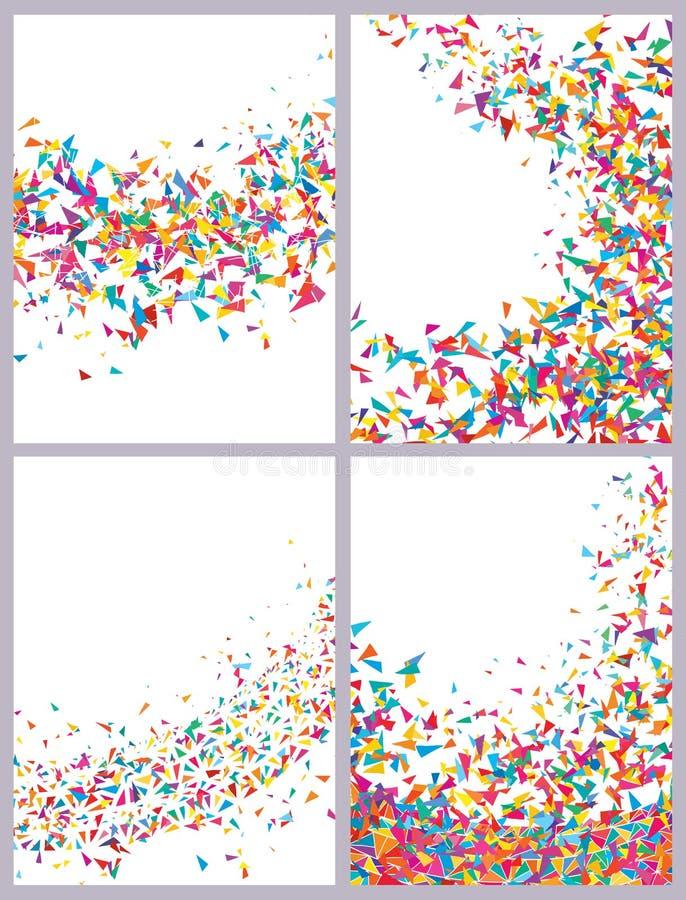 Uppsättning för teckning för triangelkort färgrik vektor illustrationer