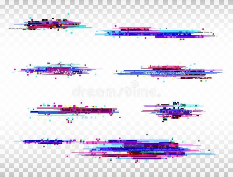 Uppsättning för tekniskt felfärgbeståndsdelar Design för Digital oväsenabstrakt begrepp FärgPIXELtekniskt fel Modern feleffekt Ov royaltyfri illustrationer