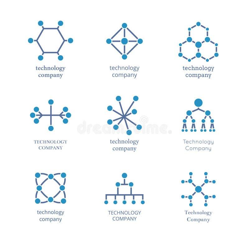 Uppsättning för teknologiföretagslogo För informationsnätverk om vektor teknologiska symboler vektor illustrationer