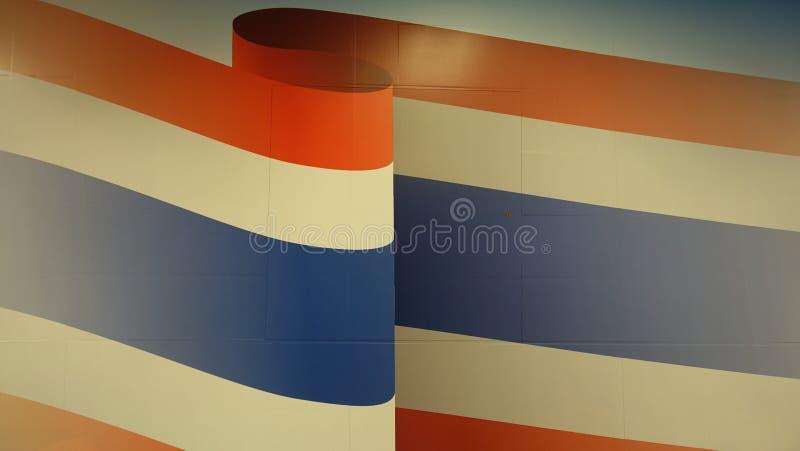 Uppsättning för Thailand flaggafärger på väggen arkivbild
