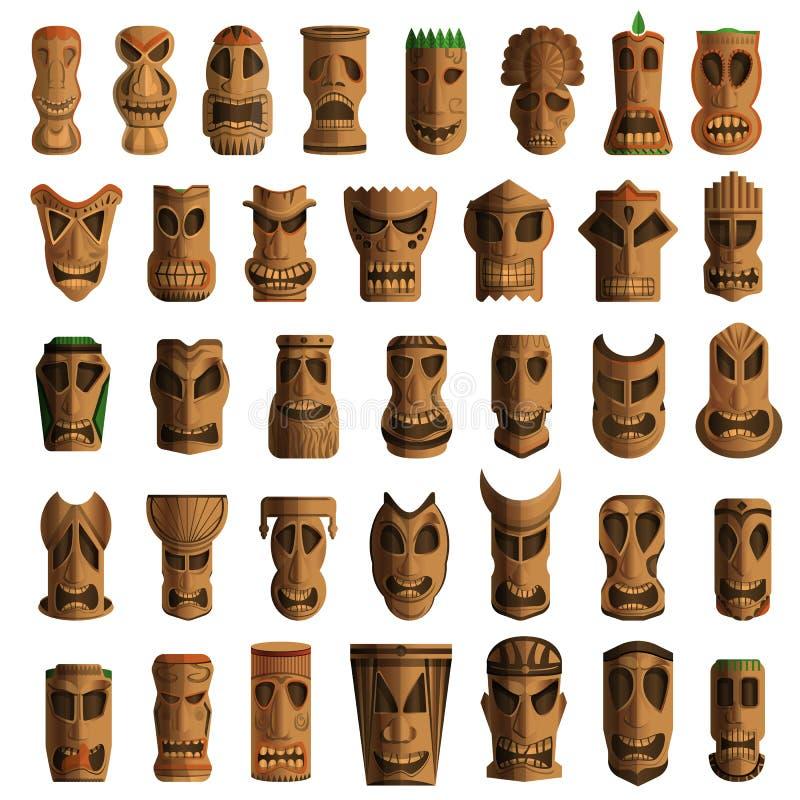Uppsättning för Tiki förebildsymbol, tecknad filmstil royaltyfri illustrationer