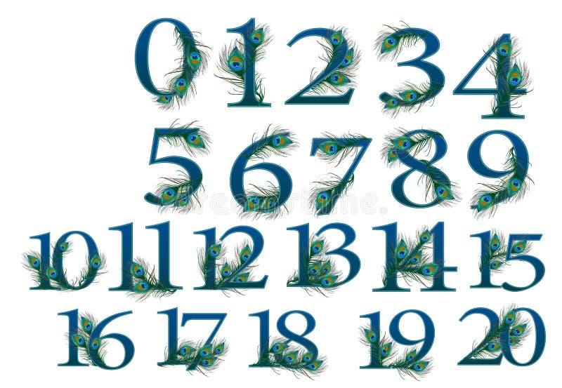 uppsättning för 0 till 20 nummer av 0 till 100 påfågelnummer vektor illustrationer