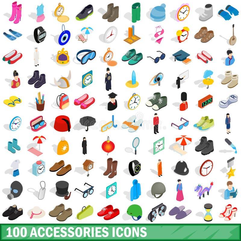 uppsättning för 100 tillbehörsymboler, isometrisk stil 3d vektor illustrationer